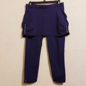 Athleta Contender 2 in 1 Yoga Skirt Capri Purple